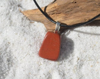 Red Jasper Stone Necklace on a Leather Cord