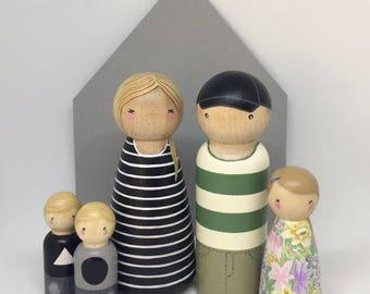 Custom Peg Doll Family of 5 // 2 Adults, 3 Children/Pets
