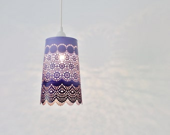 Ombre Pendant Light, Hanging Pendant Lighting Fixture, Metal Lace Shade In Purple Ombre, Modern BootsNGus Lamps and Home Decor