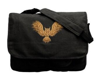 Nocturnal Owl Embroidered Canvas Messenger Bag