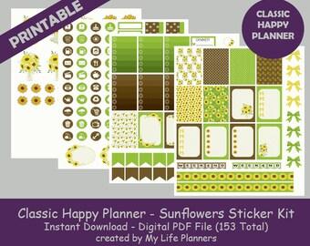 Sunflowers CLASSIC Happy Planner Printable Stickers, Weekly Kit, Planner Kit, Printable Stickers, CLASSIC Happy Planner, Instant Download