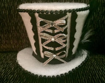 Mini Madhatter Top Hat, White and Black with Silver Bows.....comes with special bonus!