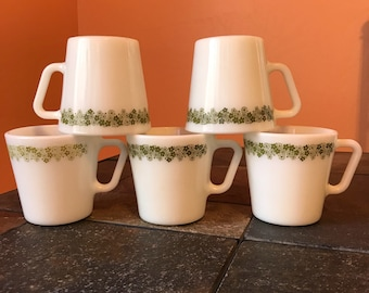 Vintage Pyrex Spring Blossom Crazy Daisy D Handle And C Handle Coffee Cup Mug