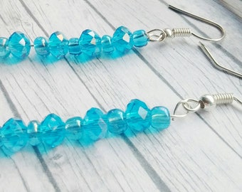Turquoise Crystal Earrings, Crystal Blue Earrings, Aqua Drop Earrings, Blue Dangle Earrings, Crystal Bead  Earrings, Turquoise Earrings,