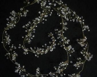 Wedding Crystal and Pearl Hair Vine Bridal Hair Crystal Vine Pearl Bridal Hair Accessories Bridal Crystal Vine Bridal Hair piece extra long