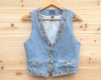 Vintage 80s Vest: embroidered, floral, pastel, western