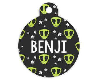 Aliens Pet Id Tag, Alien Cat Id Tag, Outer Space Pet Id Tag, Martian Dog Tag, Alien Collar Tag for Pets, Alien Name Tag, Aliens and Stars Id