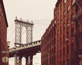DUMBO Photograph, Brooklyn NYC Art Print, Large Wall Art, New York Photography, Manhattan Bridge, Urban Architecture Print