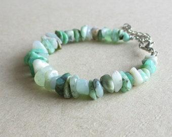 Chrysoprase gemstone chip beads beaded bracelet