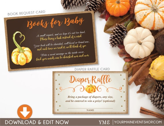 Fall Pumpkin Book Request Card and Diaper Raffle Ticket Bundle • Fall Autumn Pumpkin Baby Shower • Instant Download Printable BS-F-02