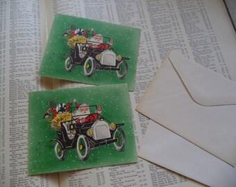 2 Vintage Santa Holiday Cards