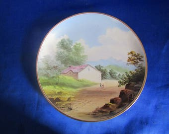Vintage Nippon Plate with a Hand Painted scene of a Farmhouse, Decorative Wall-hanging and 2 People