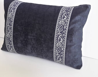 Navy Blue Chenille Decorative Accent Pillow - Size 20 in x 14 in