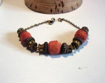 Bohemian vintage, red ancient Beads Bracelet