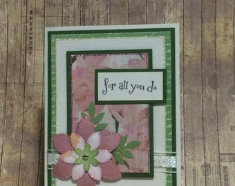 Thank you card, greeting card, handmade card, for all you do, floral card, occasion card
