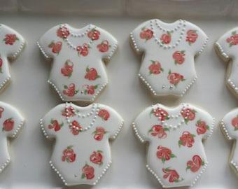 Onesie Sugar Cookies, Tea Party Baby Shower Cookies, Tea Party, Rose Sugar Cookies