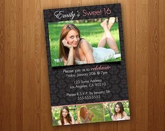 Printable Sweet 16 Invitations / Sweet Sixteen Invitations -  Black