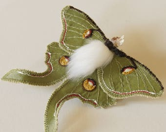 Luna Moth Statement Fiber Brooch Saturniid Butterfly Natural History Gift for Her Nature Lover Gift Creature of the Night Best Selling
