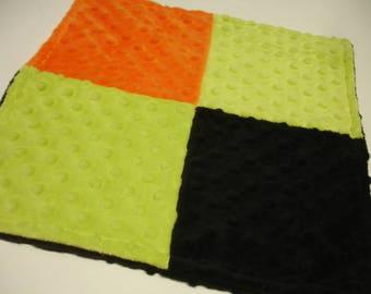 Orange Black and Lime Double Sided Minky Burp Cloth 12 x 12 READY TO SHIP