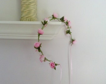 Bridal Floral Crown Ready ship Pink spring hair wreath fashion Flower girl halo summer wedding accessories headpiec baby headband photo prop