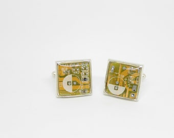 Computer Cufflinks, yellow cufflinks, gift for dad, gift for him, gift for nerd, cufflinks for developers and for engineer, nerd wedding