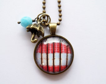 Library Book Necklace - Gift For Writer - Librarian Pendant - Bibliophile Jewelry - Book Lover Necklace - Literary Jewelry (5)