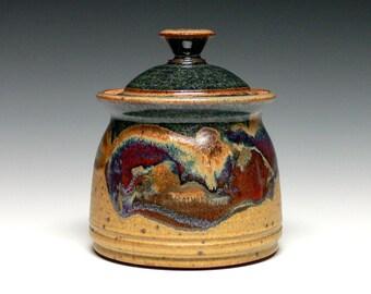 Pottery Jar, Covered Jar, Stoneware Storage Jar, Ceramic Lidded Jar, Small Kitchen Canister