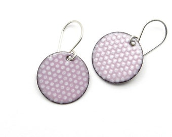 Pastel Pink Dangle Earrings - Polka Dot Jewelry - Sterling Silver - Birthday Gift for Sister