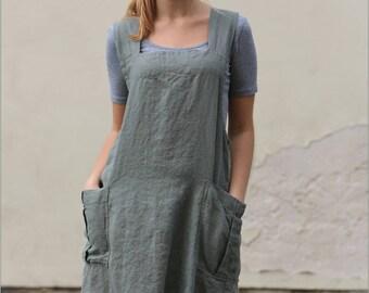 Linen Pinafore apron, Pinafore, Linen apron, Square Cross Linen Apron, Japanese Apron, Linen Summer Dress, Casual Dressc