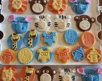 Animal Theme Baby Shower Fondant Cupcake Toppers