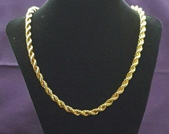 Avon Vintage Gold Tone Rope Necklace