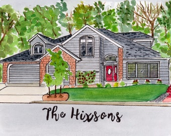 Watercolor Custom House, Family Home Painting, Custom Home Painting, Our First Home, Personalized Housewarming Gift, New Home Gift
