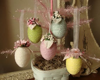 Fabric Easter egg ornaments Spring decor eggs with yarn and paper flowers shabby chic easter home decor floral eggs