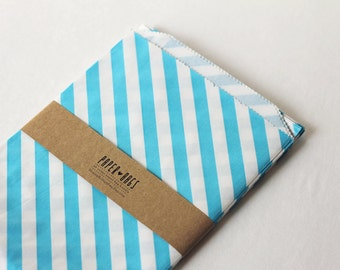 20 Big Paper bags - Diagonal stripes Turquoise - Package embellishment - Goodie bags - Popcorn - BBQ - Party - Wedding Reception Candy Bar