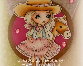 Cowgirl dollie - Digital Stamp Instant Download /  Cute Cowboy Stick Horse Toy Doll by Ching-Chou Kuik