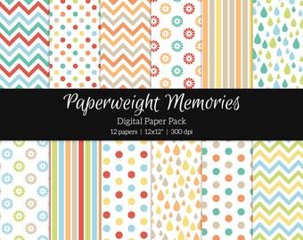 "Digital patterned paper - Childhood Dreams I - digital scrapbooking - scrapbook paper - 12x12"" 300dpi  - Commercial Use"