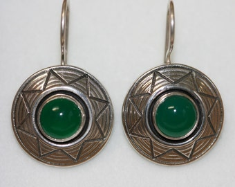 Green Agate Earrings, Silver Earrings, Handmade Earrings, 925 Silver Earrings, Sterling Silver Earrings,  Ready to Ship,
