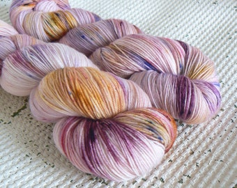 Indian Princess - Hand Dyed Yarn - Superwash Merino Nylon 4 Ply - Pink Purple Yellow Gold