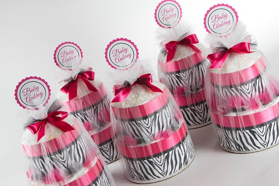 Diaper Cake Set - Baby Shower Decor - Hot Pink and Zebra - Two Tier Mini Diaper Cake Set - Baby Shower Centerpieces