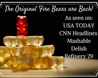 "Original Fire Bears! Cinnamon Whisky gummy bears like the ""fireball"" shot 8oz package"