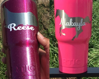 One color powder coated tumbler, powder coated personalized RTIC tumbler, Glitter Tumbler, Personalized cup,