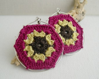 Granny Hexagon Crochet Earrings - Fuchsia Old Gold Dark Brown earrings - Retro Fashion colorful earrings - Girlfriend present -Boho chic