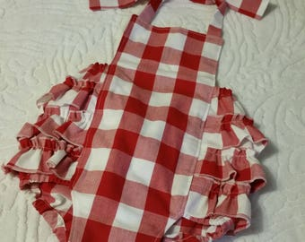 Baby Romper, Bubble Romper, Spring Romper, Baby Girl Romper, Red and White Romper, Valentine's Day