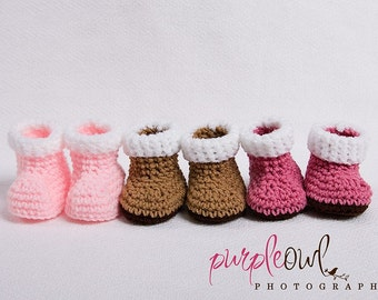 Baby Snow Booties - Any Color Combo - 3 Sizes To Choose
