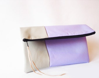Clutch purse, Fold over, Lavender Lilac  and grey, Pastel, Vegan eco leather