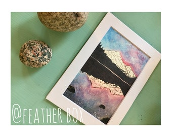 "Milky Way over Mountains: 7""x5"" Stellar Watercolor Matted Print"