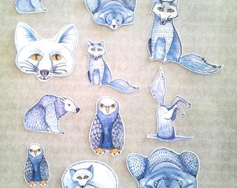 Arctic Animals Sticker Set, unique, hand cut, Art Stickers