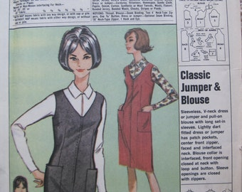 UNCUT Misses Classic Jumper and Blouse - Size 14/16 - Simplicity Sewing Pattern P66 - Vintage 1960's
