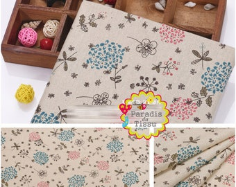 1 x coupon 50x145cm pattern colorful flower pattern pure linen fabric