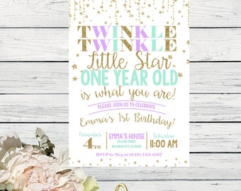 Twinkle Twinkle Little Star First Birthday Invite Mint Lavender and Gold Glitter ***Digital File*** (Twnkle-OneStarMint)